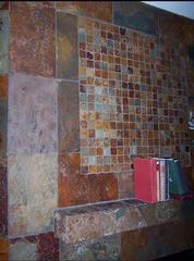 copper rust slate tile fireplace