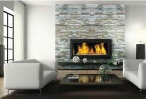 Stacked Stone ledgestone fireplace slate