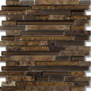 foil bronze chocolate linear glass marble mosaic