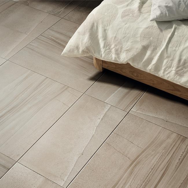 Rhin Taupe tile room scene