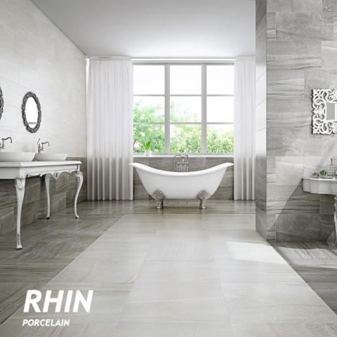 Rhin Gris tile room scene