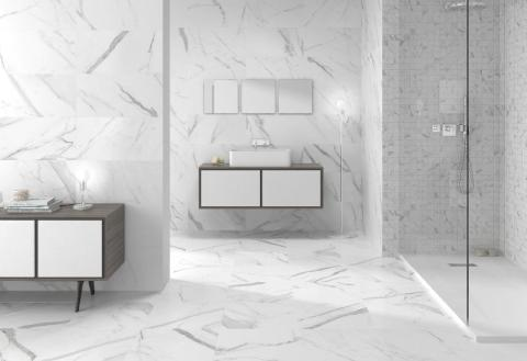 Calacatta White marble-look tile