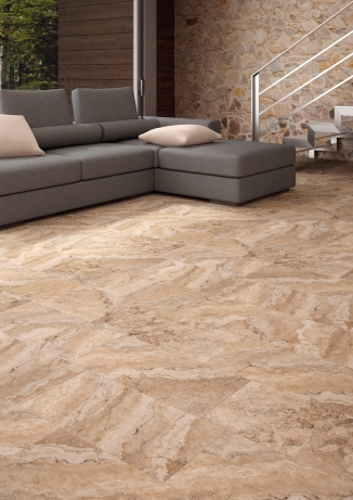 Scabos beige travertine-look porcelain tile